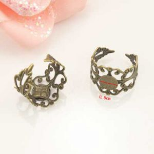 Ring base, Alloy, Metallic colour, 1  piece, (LJP289)